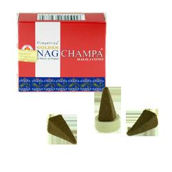 Golden Nag Champa : Encens Indien Vijayshree ~ Boîte de 10 Cônes + 1 Porte-Encens