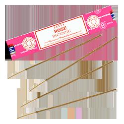 Rose : Encens Indien Satya ~ Boîte de 15 Grammes (13 Bâtonnets)