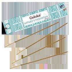 Nature's Meditation  : Encens Indien Goloka ~ Boîte de 15 Grammes (13 Bâtonnets)