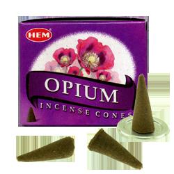 Opium : Encens Naturel Indien HEM ~ Boîte de 10 Cônes + 1 Porte-Encens