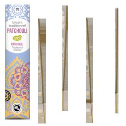 Patchouli : Encens Indien Les Encens du Monde ~ Étui de 20 Bâtonnets
