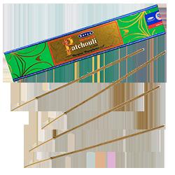 Patchouli Naturel : Encens Indien Satya ~ Boîte de 15 Grammes (13 Bâtonnets)