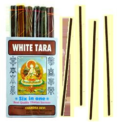 White Tara (Six in One) : Encens Tibétain 100% Naturel ~ Étui de ±84 Bâtonnets