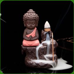 """Fontaine à encens """" Bouddha Rouge """" en terre cuite"""