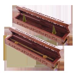 Porte-Encens Bois avec Réservoir et Couvercle ~ Dim. : 30,50 x 5,50 x 6,00 cm