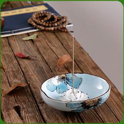 Porte-Encens Coupelle Bleue en Porcelaine ~ Dimensions : 12,00 x 4,00 cm