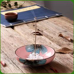 Porte-Encens Coupelle Rose en Porcelaine ~ Dimensions : 12,00 x 4,00 cm