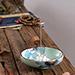 Porte-Encens Coupelle Verte en Porcelaine ~ Dimensions : 12,00 x 4,00 cm