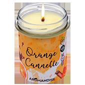 Orange + Cannelle : Bougie Naturelle à l'Huile Essentielle d'Orange Douce et de Cannelle